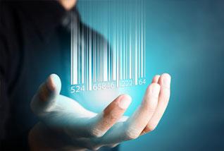 Hand holding hologram computer code