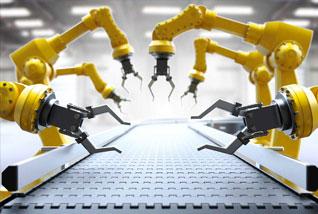 Roboterarme am Fließband