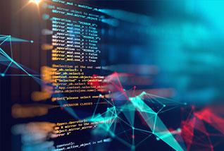 Darstellung von Computer Code auf transparentem Hintergrund